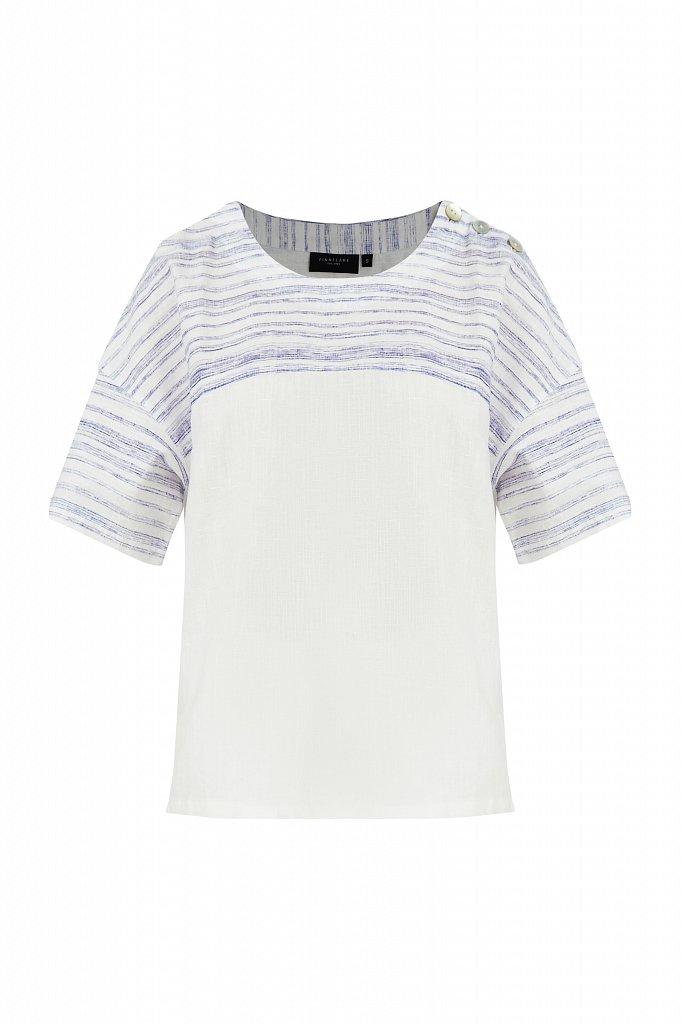 Свободная блузка с полосатым принтом, Модель S21-14037, Фото №7