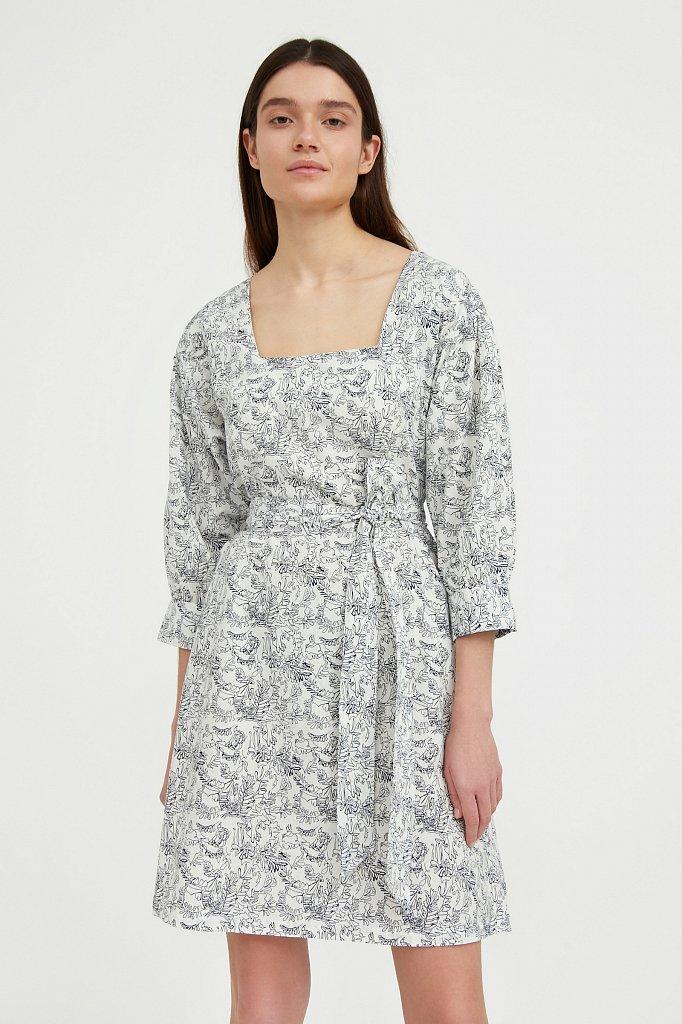 Хлопковое платье с поясом, Модель S21-14044, Фото №2