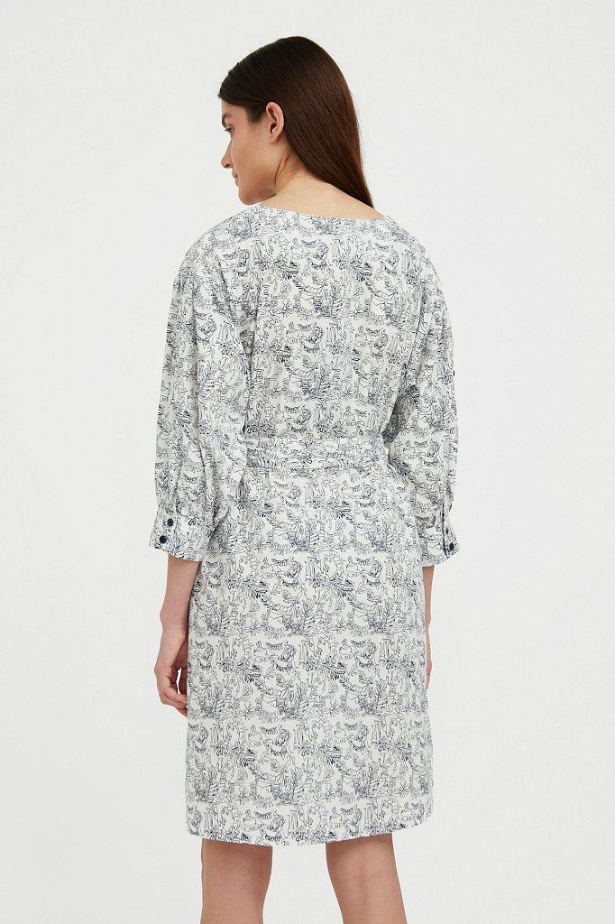 Хлопковое платье с поясом, Модель S21-14044, Фото №4