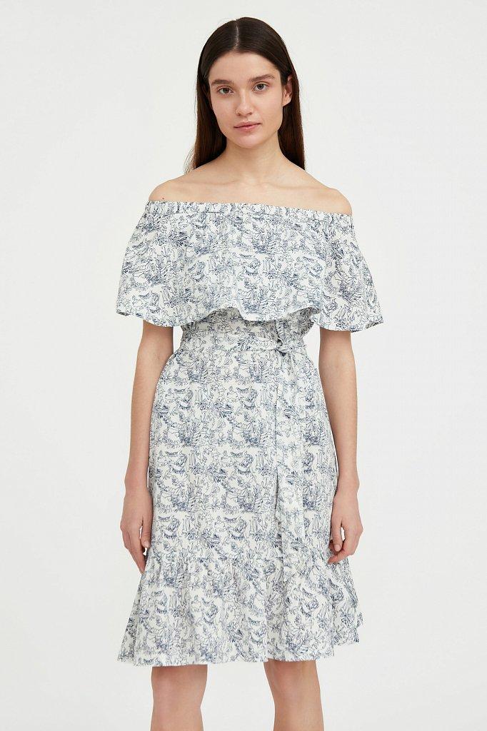 Хлопковое платье с открытыми плечами, Модель S21-14045, Фото №2