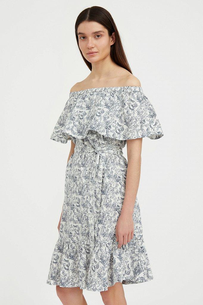 Хлопковое платье с открытыми плечами, Модель S21-14045, Фото №3