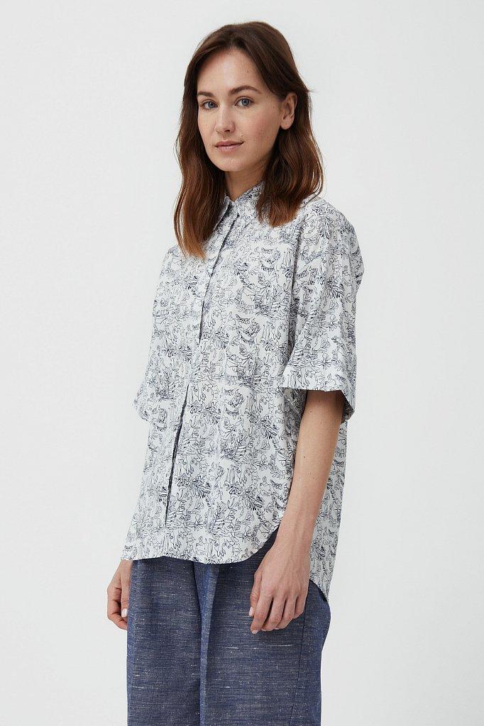 Хлопковая блуза с принтом, Модель S21-14046, Фото №1