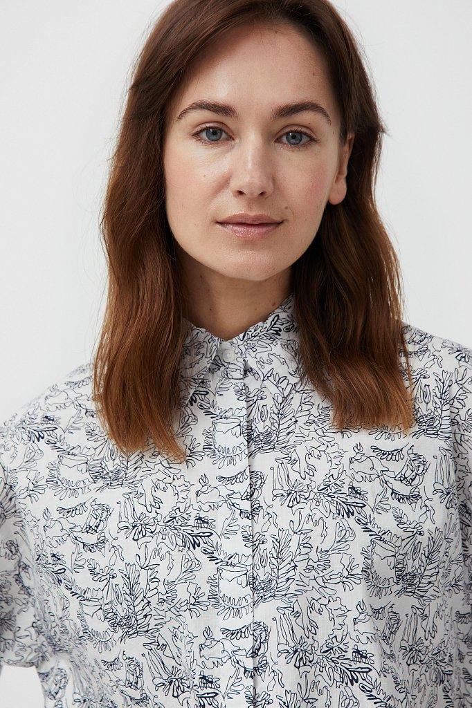 Хлопковая блуза с принтом, Модель S21-14046, Фото №6