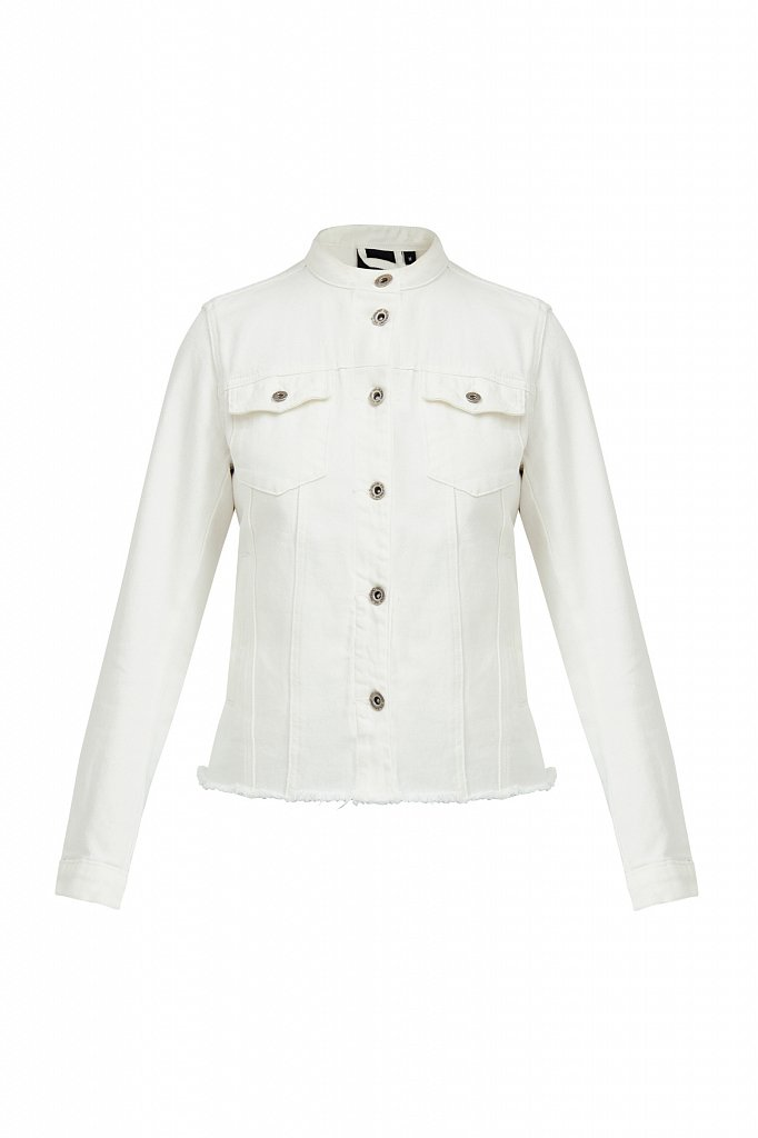 Джинсовая куртка с воротником-стойкой, Модель S21-15014, Фото №7