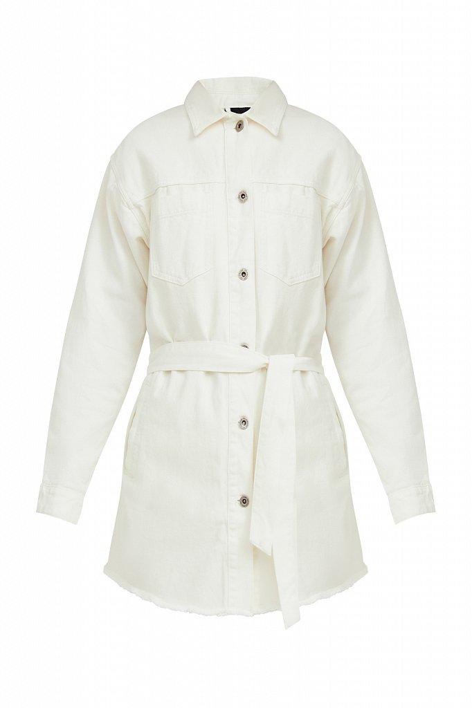 Джинсовая куртка-рубашка с поясом, Модель S21-15017, Фото №6