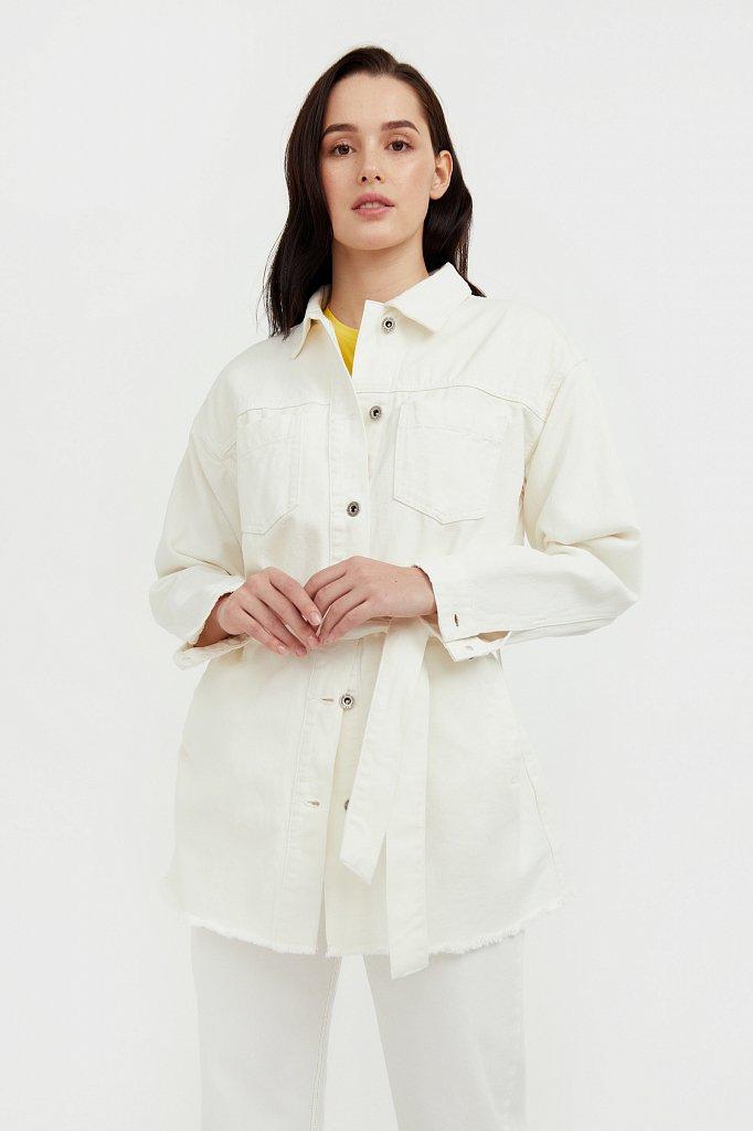 Джинсовая куртка-рубашка с поясом, Модель S21-15017, Фото №2