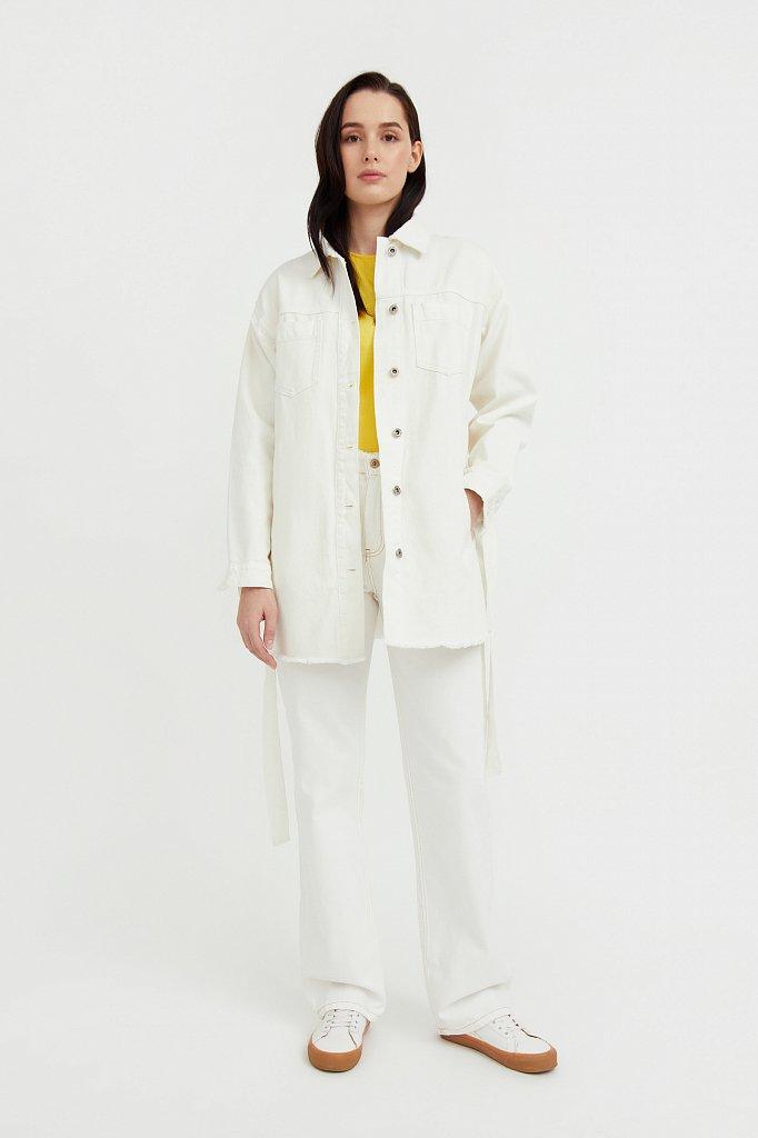 Джинсовая куртка-рубашка с поясом, Модель S21-15017, Фото №3
