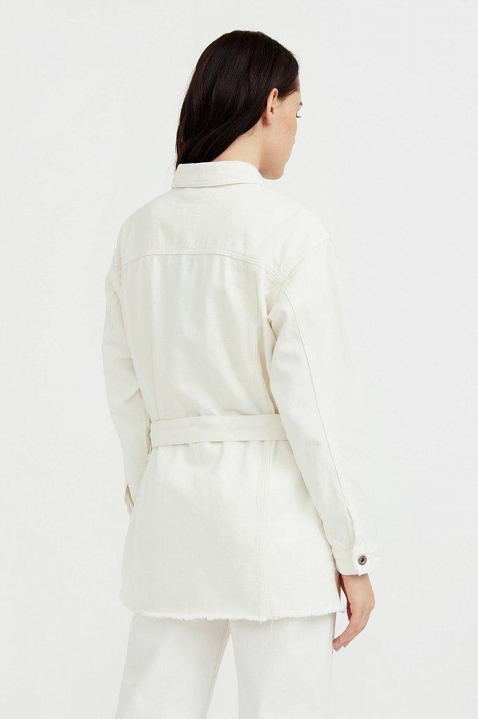 Джинсовая куртка-рубашка с поясом, Модель S21-15017, Фото №4