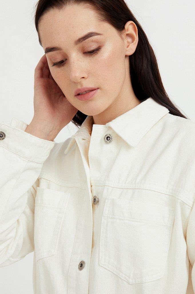 Джинсовая куртка-рубашка с поясом, Модель S21-15017, Фото №5