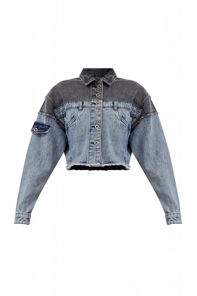Укороченная куртка из комбинированного денима, Модель S21-15001, Фото №7