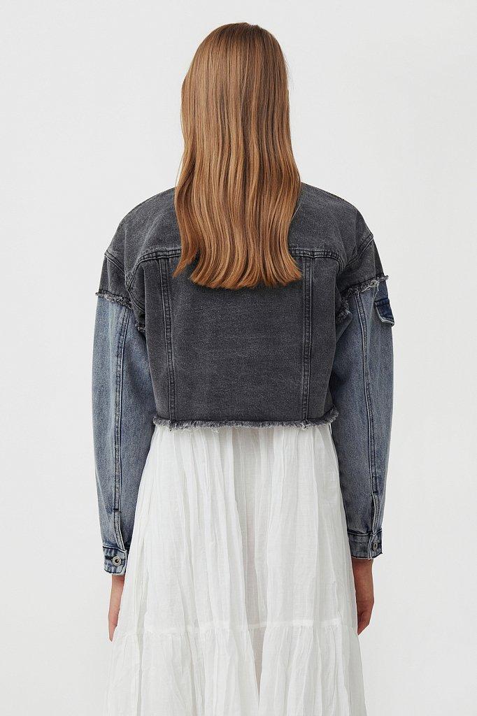 Укороченная куртка из комбинированного денима, Модель S21-15001, Фото №4