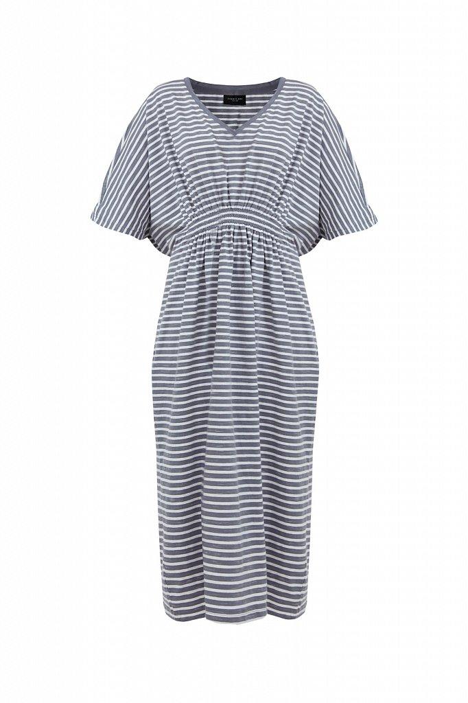 Полосатое платье с драпировкой, Модель S21-14072, Фото №7