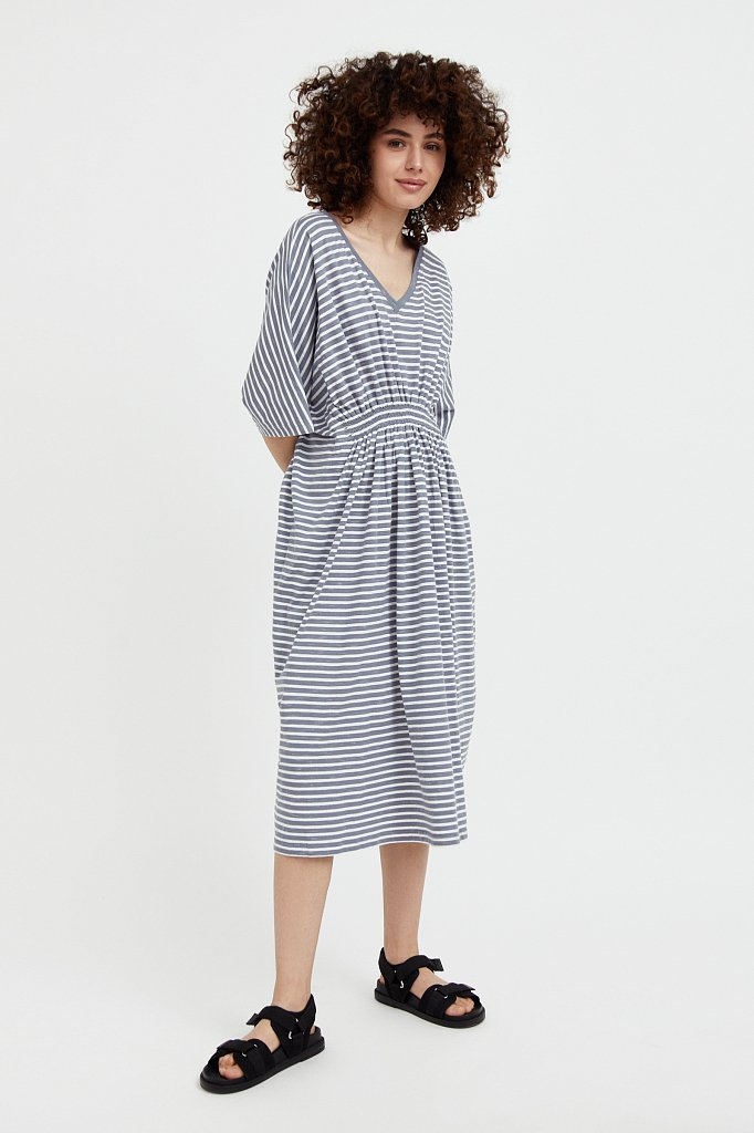 Полосатое платье с драпировкой, Модель S21-14072, Фото №3
