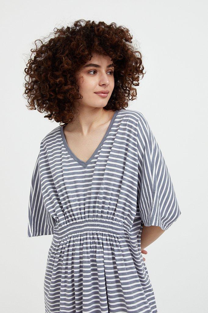 Полосатое платье с драпировкой, Модель S21-14072, Фото №6
