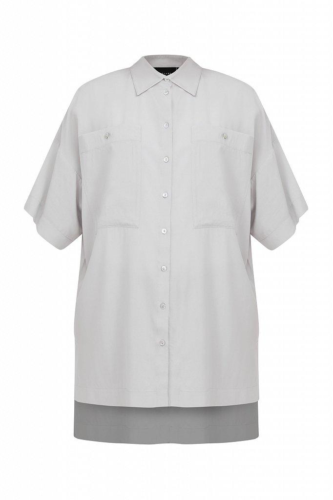 Однотонная рубашка оверсайз, Модель S21-11076, Фото №7