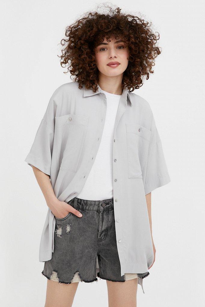 Однотонная рубашка оверсайз, Модель S21-11076, Фото №1