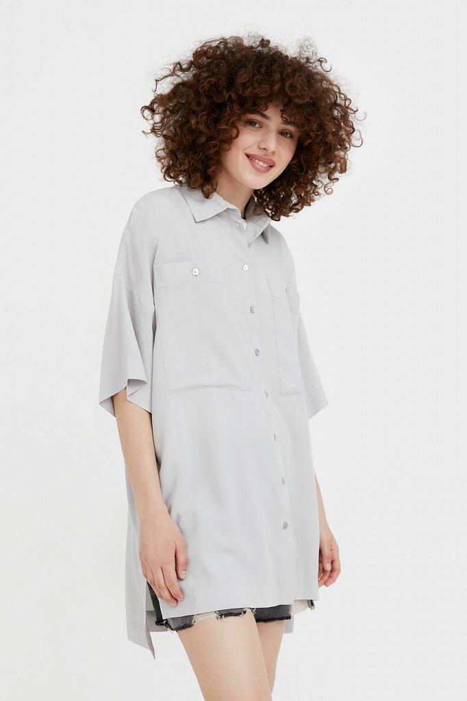 Однотонная рубашка оверсайз, Модель S21-11076, Фото №3