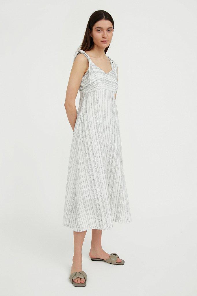 Полосатое платье из льна и хлопка, Модель S21-14034, Фото №1