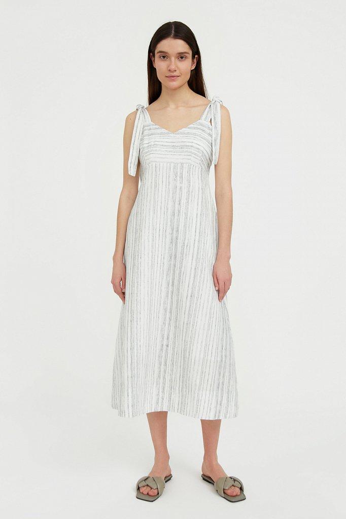 Полосатое платье из льна и хлопка, Модель S21-14034, Фото №2