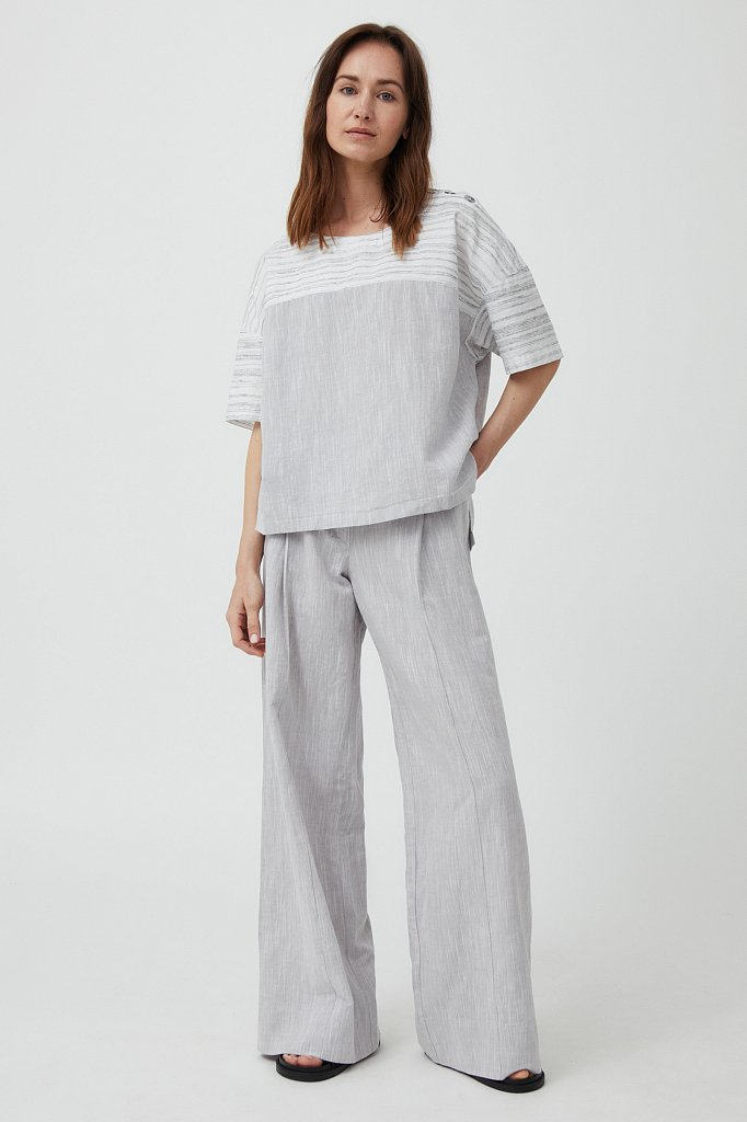 Свободная блузка с полосатым принтом, Модель S21-14037, Фото №1