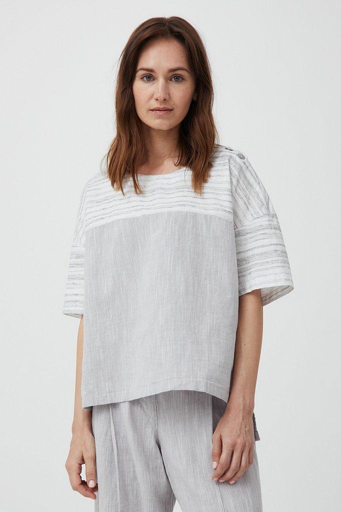 Свободная блузка с полосатым принтом, Модель S21-14037, Фото №2