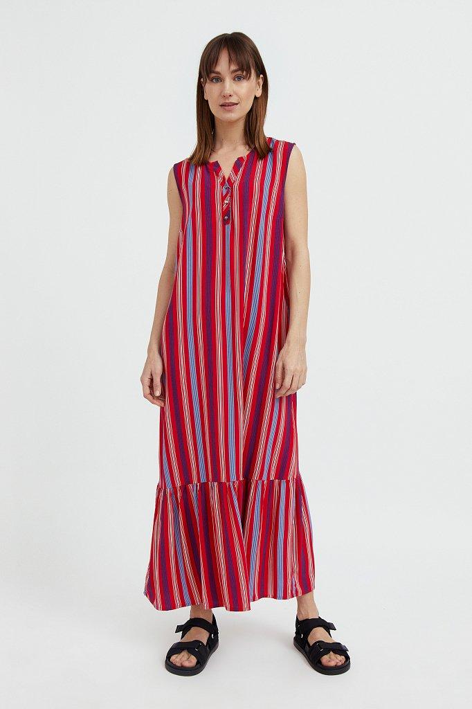 Полосатое платье с воланами, Модель S21-14079, Фото №2