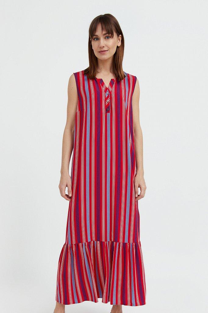 Полосатое платье с воланами, Модель S21-14079, Фото №3