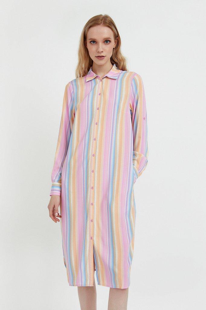 Прямое платье-рубашка в полоску, Модель S21-32021, Фото №2