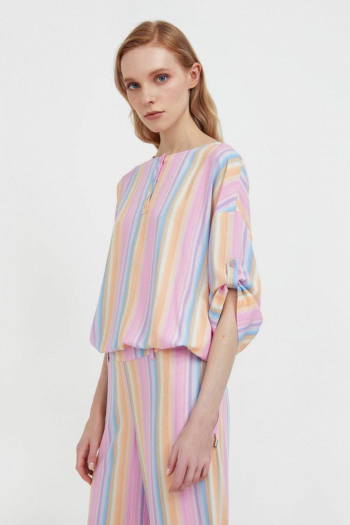 Блузка с полосатым принтом, Модель S21-32022, Фото №3