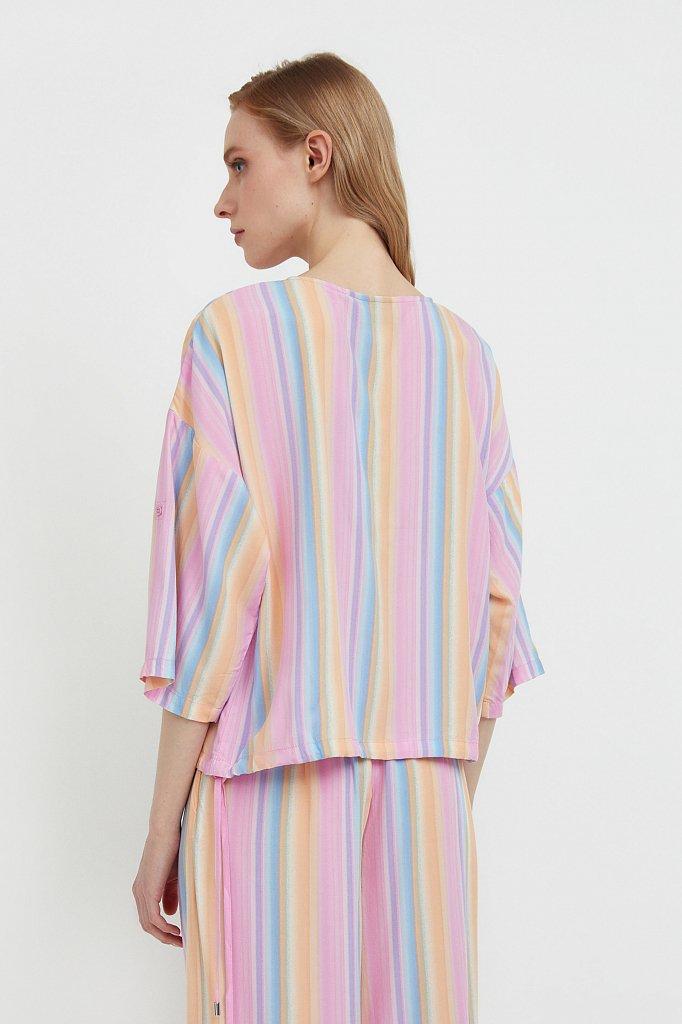 Блузка с полосатым принтом, Модель S21-32022, Фото №4