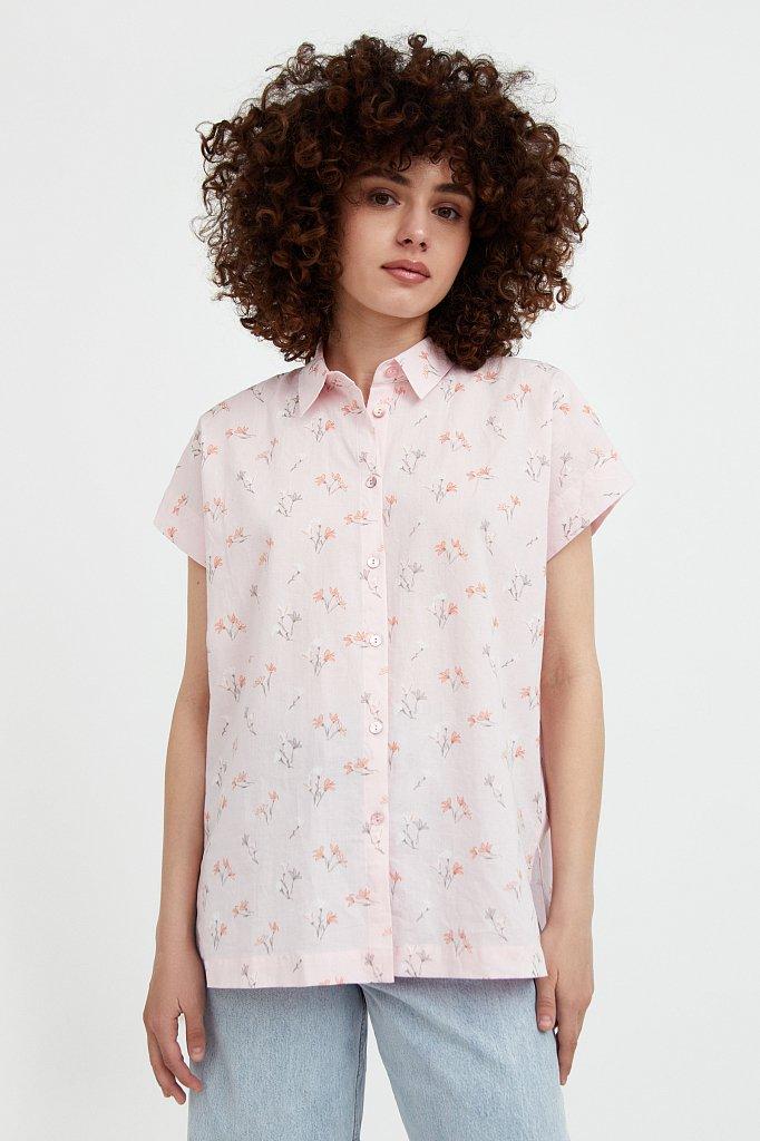 Хлопковая рубашка с цветочным рисунком, Модель S21-11017, Фото №2