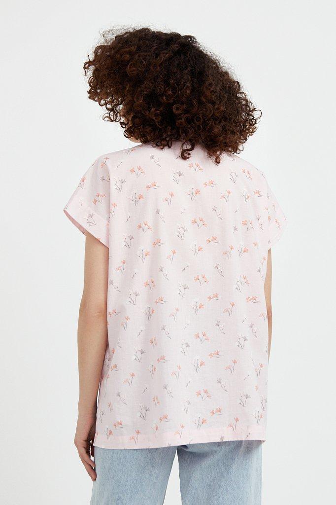 Хлопковая рубашка с цветочным рисунком, Модель S21-11017, Фото №5