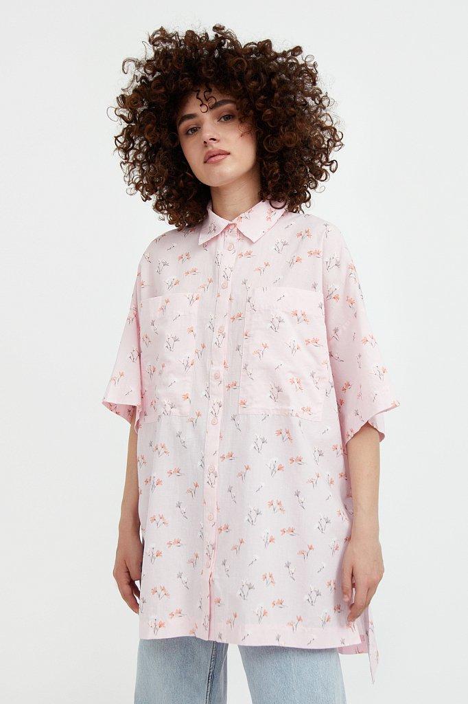 Рубашка оверсайз из хлопка, Модель S21-11019, Фото №2