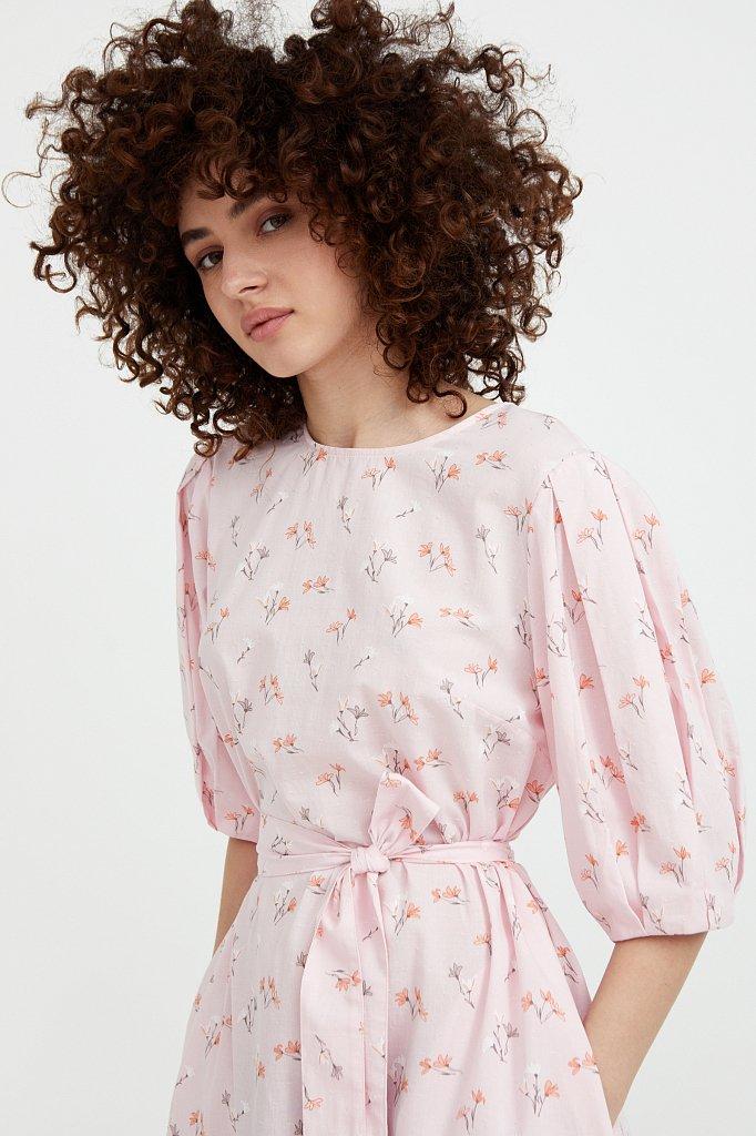 Хлопковое платье с поясом, Модель S21-11030, Фото №1