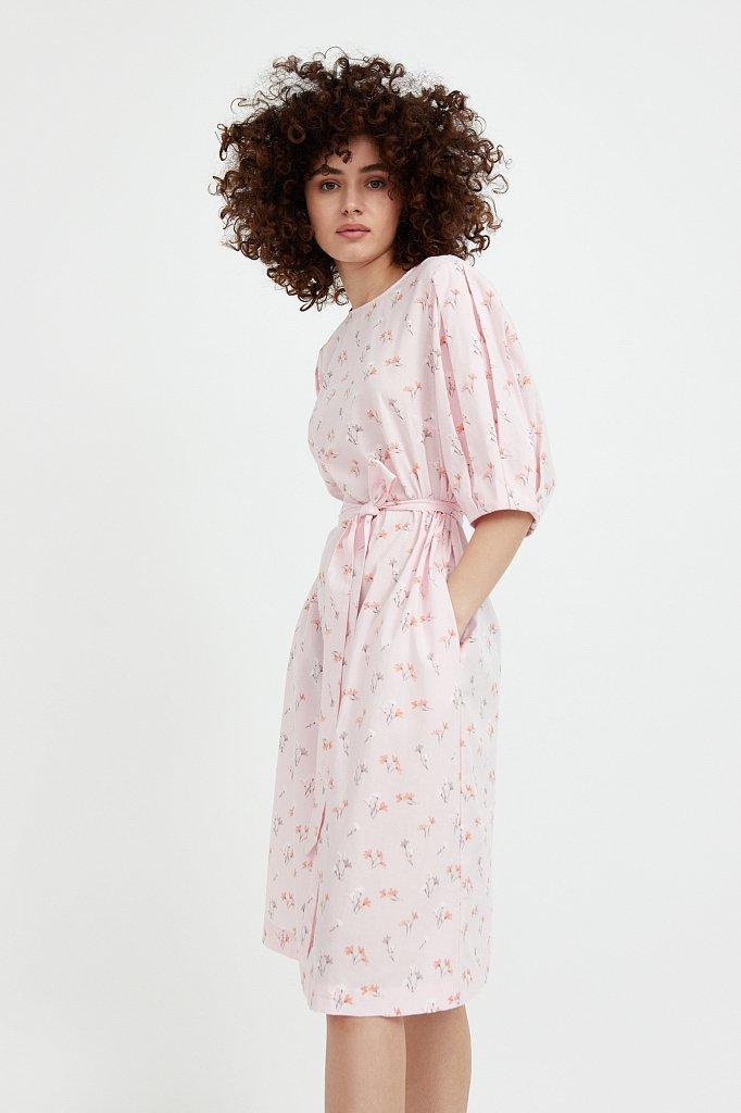 Хлопковое платье с поясом, Модель S21-11030, Фото №4