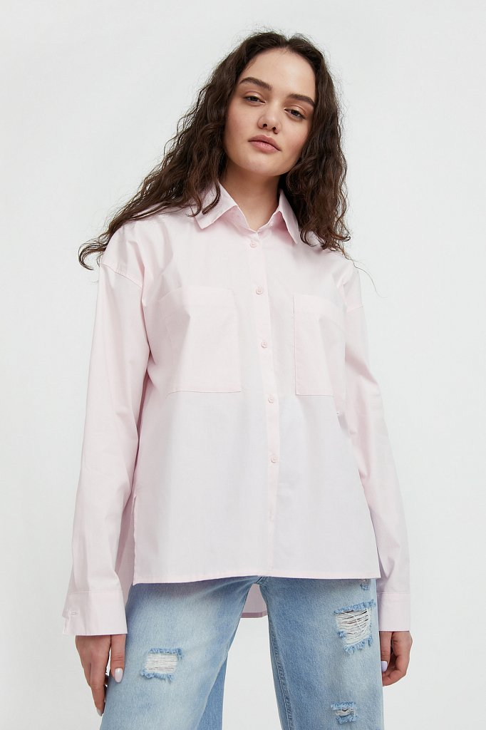 Хлопковая рубашка оверсайз, Модель S21-11051, Фото №1