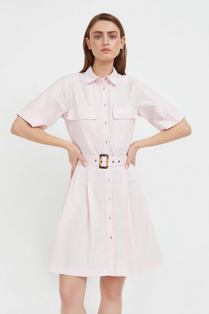 Короткое платье-рубашка из хлопка, Модель S21-11053, Фото №2