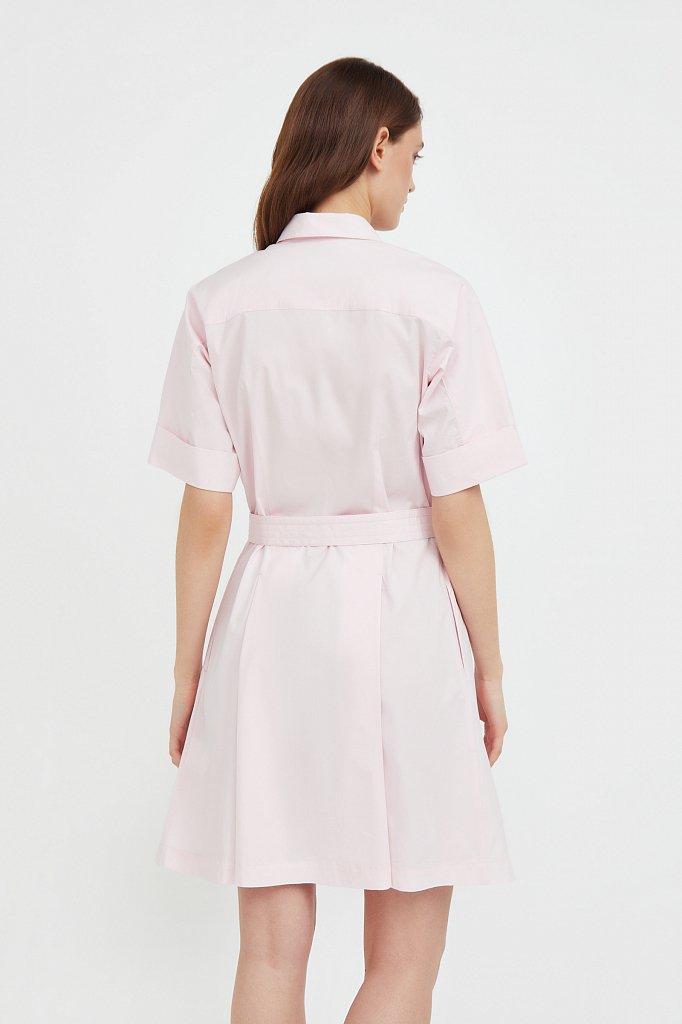 Короткое платье-рубашка из хлопка, Модель S21-11053, Фото №4