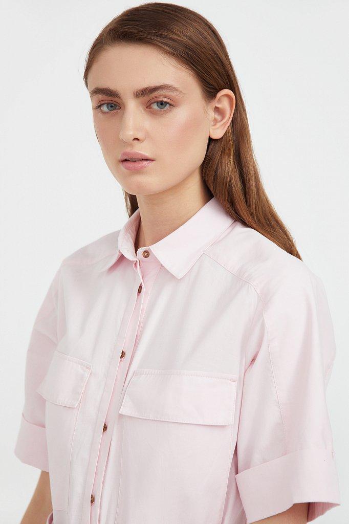 Короткое платье-рубашка из хлопка, Модель S21-11053, Фото №6
