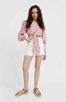 Короткая блуза с цветочным принтом S21-12020