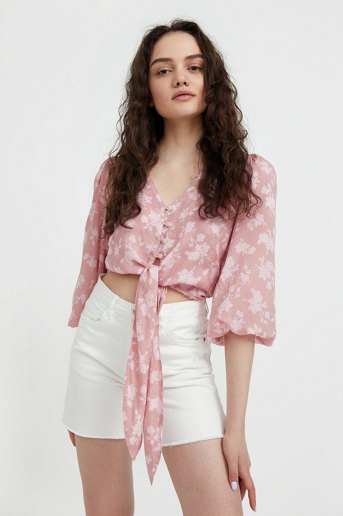 Короткая блуза с цветочным принтом, Модель S21-12020, Фото №2