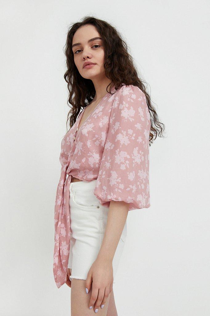 Короткая блуза с цветочным принтом, Модель S21-12020, Фото №3