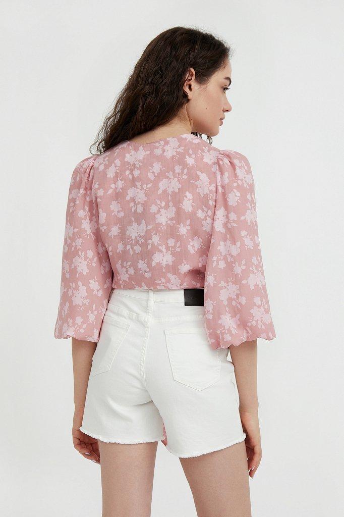 Короткая блуза с цветочным принтом, Модель S21-12020, Фото №4