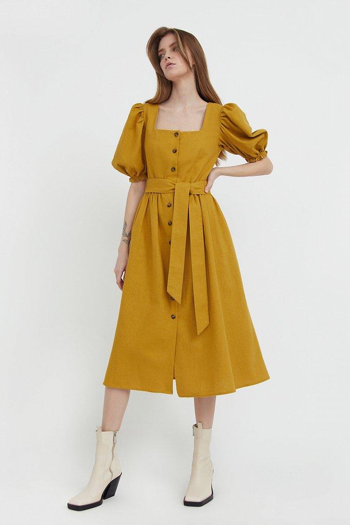 Платье-миди изо льна и хлопка, Модель S21-11012, Фото №1