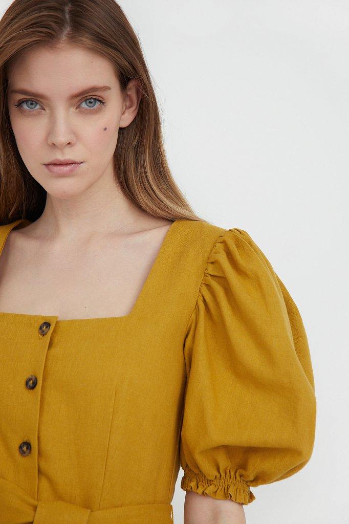 Платье-миди изо льна и хлопка, Модель S21-11012, Фото №6