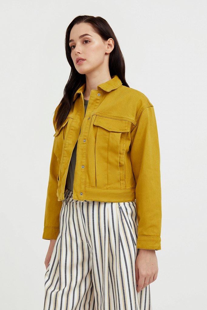 Укороченная куртка из денима, Модель S21-15002, Фото №1