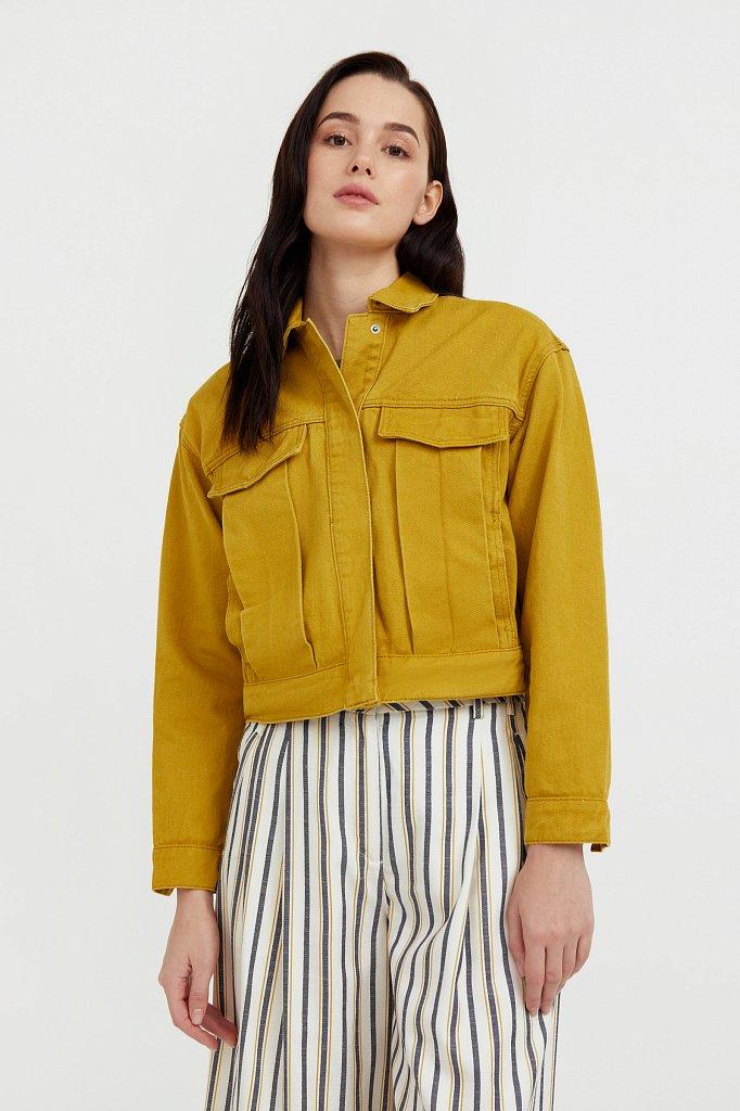 Укороченная куртка из денима, Модель S21-15002, Фото №2