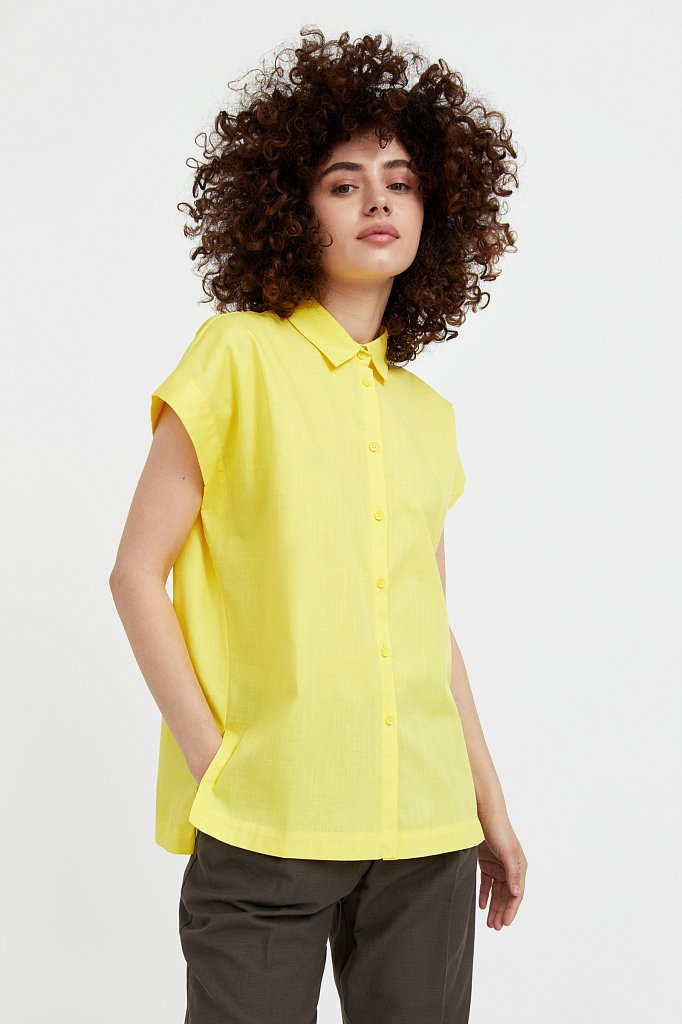 Хлопковая рубашка с короткими рукавами, Модель S21-11005, Фото №2