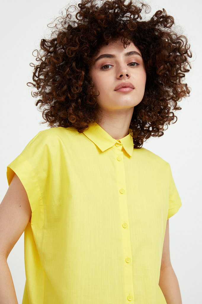 Хлопковая рубашка с короткими рукавами, Модель S21-11005, Фото №6