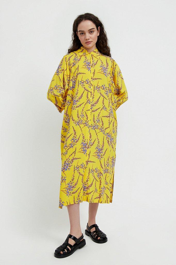 Платье-рубашка с растительным принтом, Модель S21-11066, Фото №2